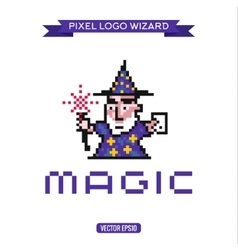 Logo pixel art wizard magician magic vector
