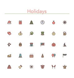 Holidays colored line icons vector