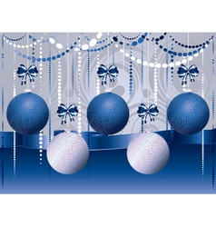 Blue and white xmas balls2 vector