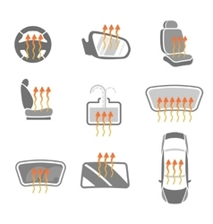 Car heating system set vector