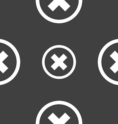 Cancel icon no sign seamless pattern on a gray vector