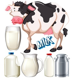 Dairy products with cow and fresh milk vector