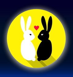 Rabbits lover on the moon vector