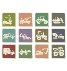 Transportation and construction machines icons vector