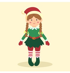 Elf christmas braid girl vector