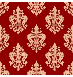 Seamless red and pink fleur-de-lis pattern vector