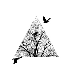 Tree trimmed in a triangle vector