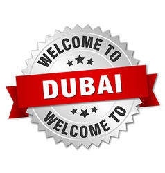 Dubai 3d silver badge with red ribbon vector