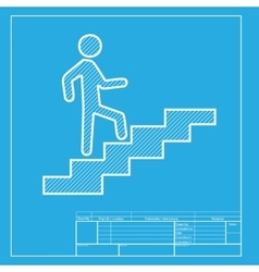Man on stairs going up white section of icon on vector
