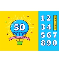Anniversary colorful background hot air balloon vector image