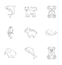 Animals set icons in outline style Big collection vector image vector image