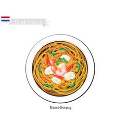 Bami goreng or dutch stir fried noodles vector