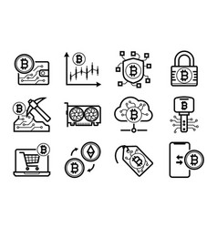 bitcoin mining icons set in black and white vector image
