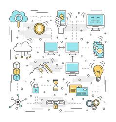 Blockchain technology process vector