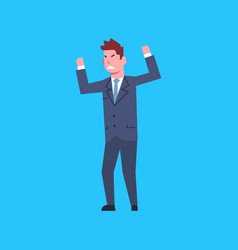 business man cheerful hold raised hands office vector image vector image