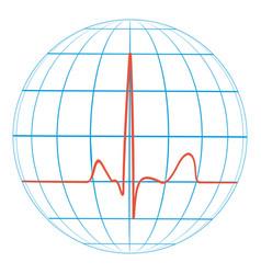 Cardio planet earth heart pulse cardiogram vector