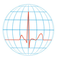 cardio planet earth heart pulse cardiogram vector image vector image