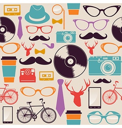 Colorful vintage hipsters icons vector