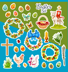 Easter sticker set with spring holiday symbols vector