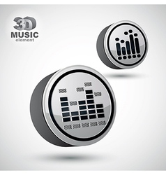 Equalizer 3d round icon isolated 2 versions set vector image vector image