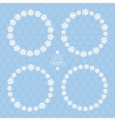 Frame of snowflakes pattern snow background vector image