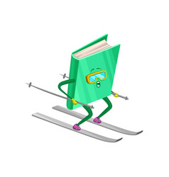 funny humanized book character skiing on a slope vector image vector image