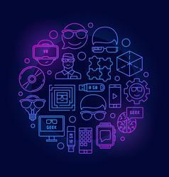 Geek line colorful vector