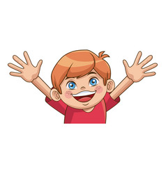 Happy boy cartoon kid emotion smile image vector