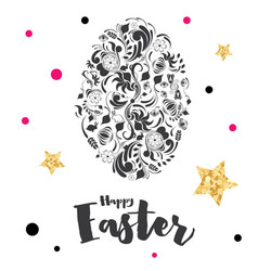 Happy easter lettering with egg and golden stars vector
