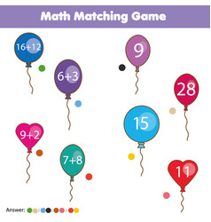 Math educational game for children matching vector