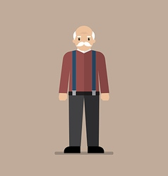 Old man standing full length vector