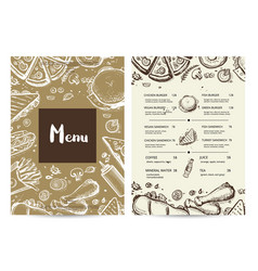 restaurant menu card with prices vector image vector image