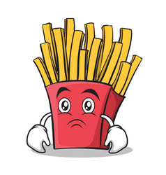 sad face french fries cartoon character vector image vector image