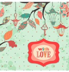 Scrapbooking background with patch branch and vector image