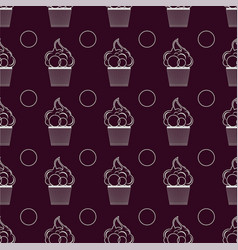 Seamless pattern with cupcakes lines vector