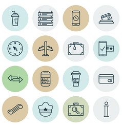 Set of 16 travel icons includes phone reservation vector