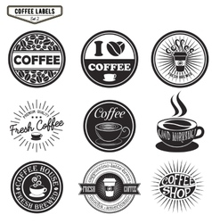 Set of coffee labels design elements emblems and vector image