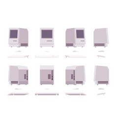 set of old monoblock pc vector image