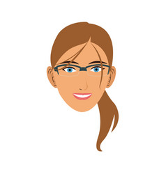 silhouette face girl cartoon vector image vector image