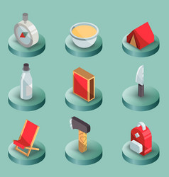 survival kit color isometric icons vector image