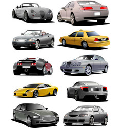 Ten cars on the road vector
