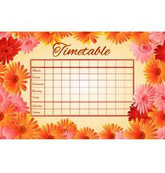 Timetable weekly schedule with gerberas vector