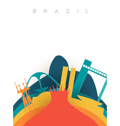 travel brazil 3d paper cut world landmarks vector image