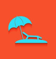 Tropical resort beach sunbed chair sign vector