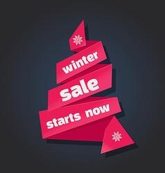 winter sale banner in paper vector image vector image