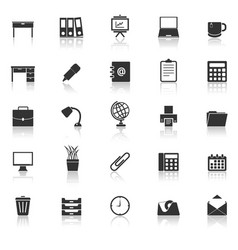 workspace icons with reflect on white background vector image