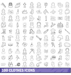 100 clothes icons set outline style vector