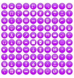 100 construction icons set purple vector