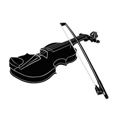Black - white musical instrument violin with vector