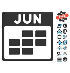 June calendar grid icon with bonus vector